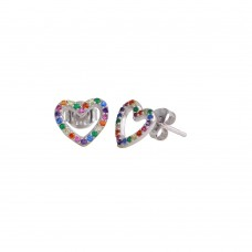 Wholesale Sterling Silver 925 Rhodium Plated Open Heart Stud Earrings with Multi-Colored CZ - BGE00613