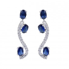 Wholesale Sterling Silver 925 Rhodium Plated Dangling Blue And Clear Earrings - BGE00614