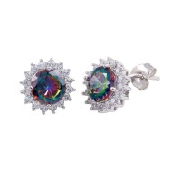 Wholesale Sterling Silver 925 Rhodium Plated Halo Synthetic Mystic Topaz Earrings - BGE00615