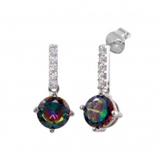 Wholesale Sterling Silver 925 Rhodium Plated Dangling CZ Synthetic Mystic Topaz Earrings - BGE00616