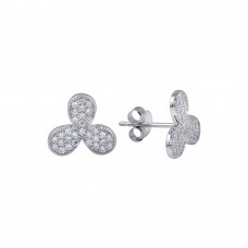 Wholesale Sterling Silver 925 Rhodium Plated Clover Leaf CZ Earrings - BGE00618