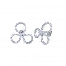 Wholesale Sterling Silver 925 Rhodium Plated Open Clover Leaf CZ Earrings - BGE00619