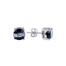 Wholesale Sterling Silver 925 Rhodium Plated 2 Toned CZ Stud Earrings - BGE00620