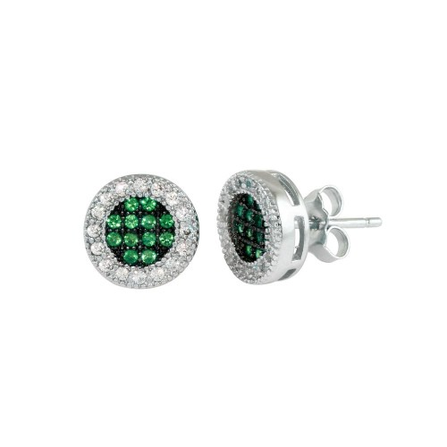 Wholesale Sterling Silver 925 Rhodium Plated Clear and Green CZ Halo Stud Earrings - BGE00631GRN