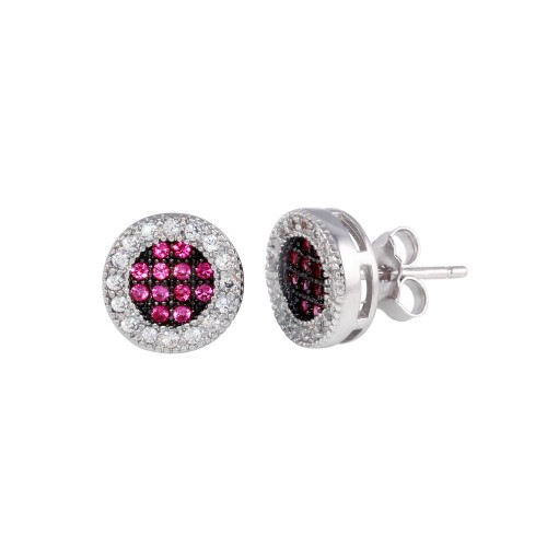 Wholesale Sterling Silver 925 Rhodium Plated Clear and Red CZ Halo Stud Earrings - BGE00631RED