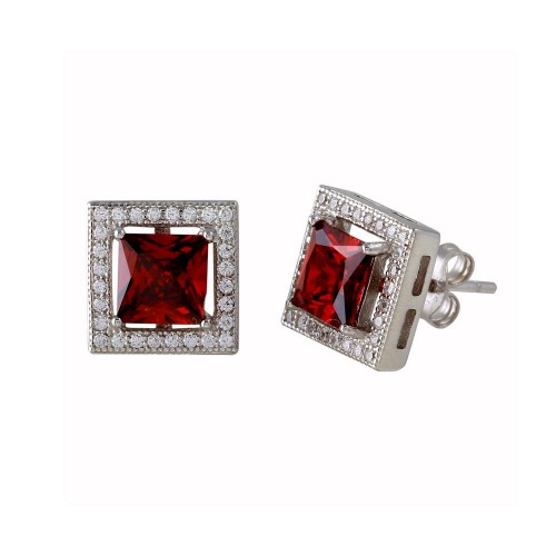 Wholesale Sterling Silver 925 Rhodium Plated Red Halo Square CZ Stud Earrings - BGE00632RED