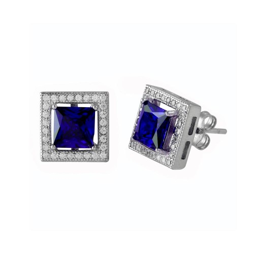 Wholesale Sterling Silver 925 Rhodium Plated Blue Halo Square CZ Stud Earrings - BGE00632BLU