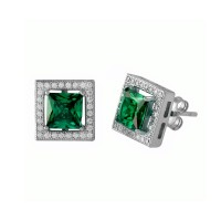 Wholesale Sterling Silver 925 Rhodium Plated Green Halo Square CZ Stud Earrings - BGE00632GRN
