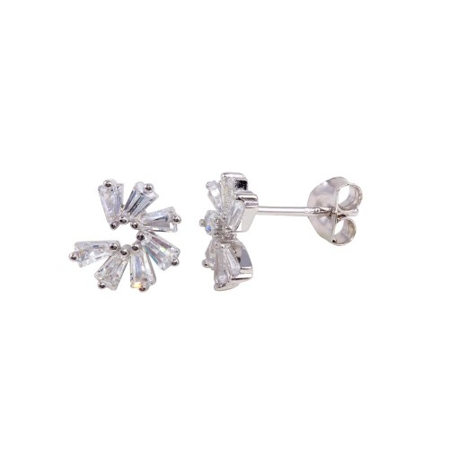 Wholesale Sterling Silver 925 Rhodium Plated Baguette CZ Circle Earrings - BGE00637