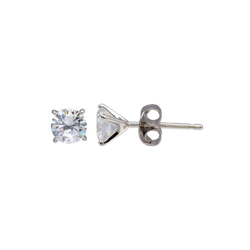 Wholesale Sterling Silver 925 Rhodium Plated Round CZ  Stud Earrings 4.8mm - BGE00639