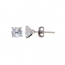 Wholesale Sterling Silver 925 Rhodium Plated Round CZ  Stud Earrings 6.1mm - BGE00640