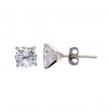 Wholesale Sterling Silver 925 Rhodium Plated Round CZ  Stud Earrings 6.9mm - BGE00641