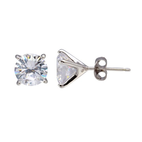 Wholesale Sterling Silver 925 Rhodium Plated Round CZ  Stud Earrings 8mm - BGE00642