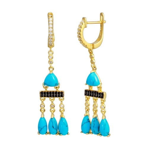 Wholesale Sterling Silver 925 Gold Plated Danging CZ and Turquoise Earrings - BGE00645