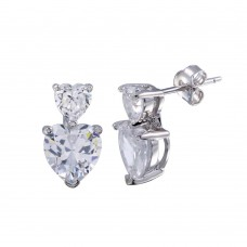 Wholesale Sterling Silver 925 Rhodium Plated Double Heart CZ Dangling Earrings - BGE00648