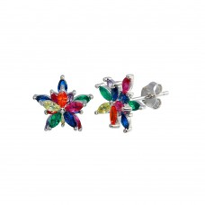 Wholesale Sterling Silver 925 Rhodium Plated Multi Color Flower CZ Stud Earrings - BGE00649