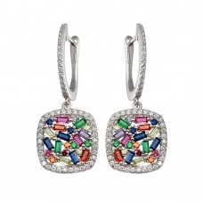 Wholesale Sterling Silver 925 Rhodium Plated Multi Color CZ Dangling Earrings - BGE00650