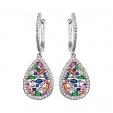 Wholesale Sterling Silver 925 Rhodium Plated Multi Color Teardrop CZ Dangling Earrings - BGE00651