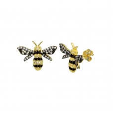 Wholesale Sterling Silver 925 Gold Plated CZ BumbleBee Stud Earrings - BGE00656