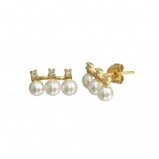 Wholesale Sterling Silver 925 Gold Plated CZ Dangling 3 Faux Pearls Earring - BGE00657