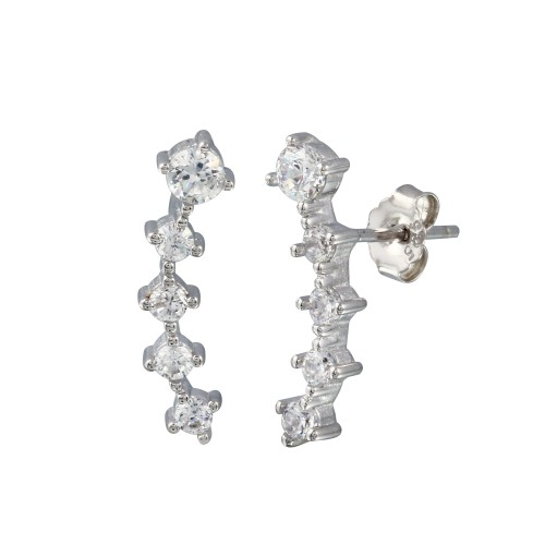 Wholesale Sterling Silver 925 Rhodium Plated Graduated CZ Stud Earrings - BGE00659