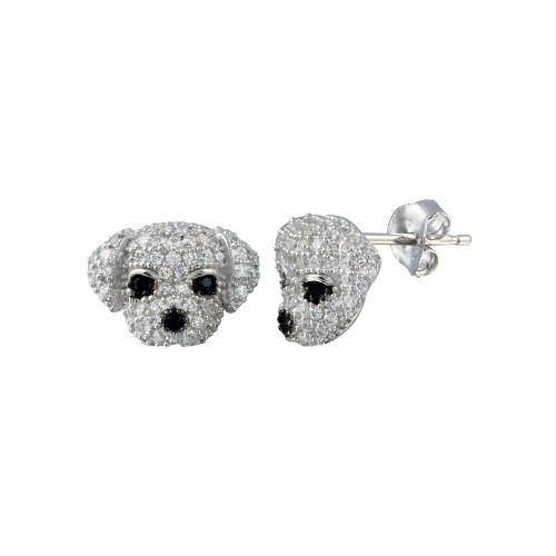 Wholesale Sterling Silver 925 Gold Plated CZ Puppy Stud Earrings - BGE00660