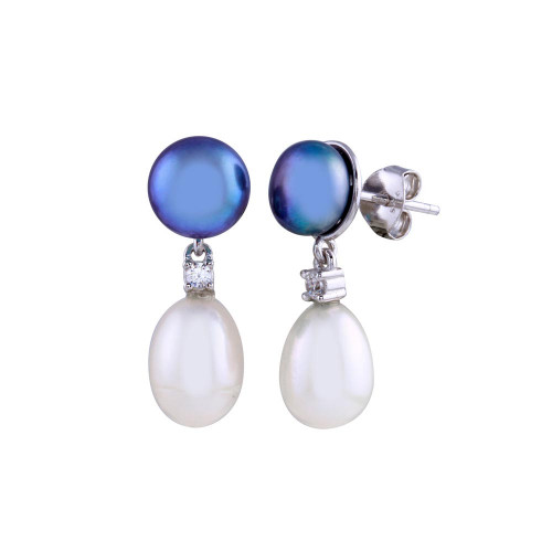 Wholesale Sterling Silver 925 Rhodium Plated Black and White Pearl Dangling Earrings - BGE00671