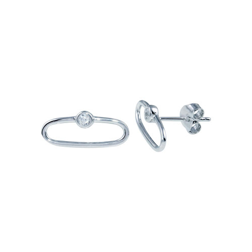 Wholesale Sterling Silver 925 Rhodium Plated CZ Paperclip Stud Earrings - BGE00672