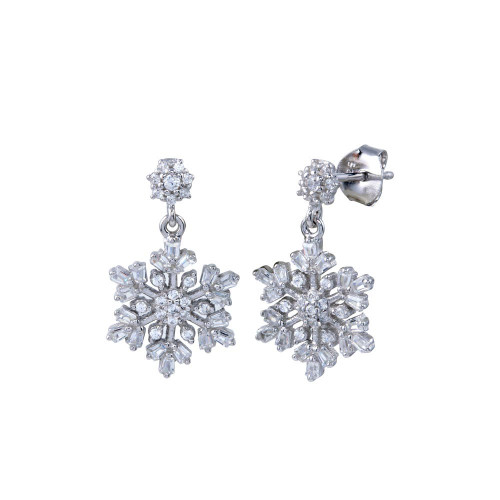 Wholesale Sterling Silver 925 Rhodium Plated Dangling CZ Snow Flakes Earrings - BGE00674