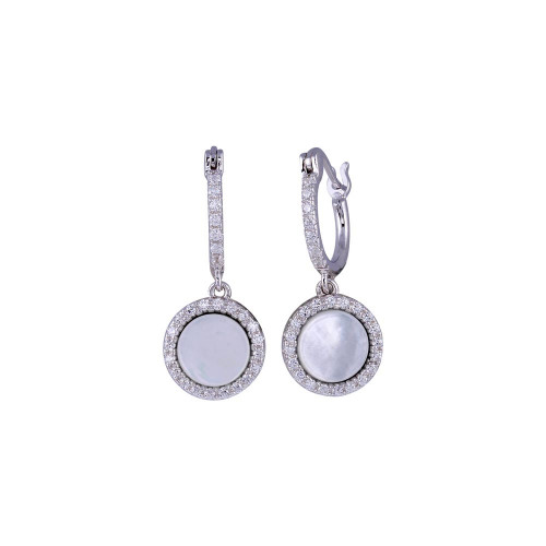 Wholesale Sterling Silver 925 Rhodium Plated Dangling CZ Disc with Mother of Pearl Huggie Earrings -BGE00675