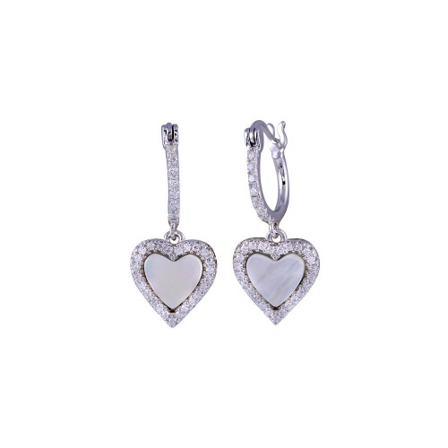 Wholesale Sterling Silver 925 Rhodium Plated Dangling CZ Heart with Mother of Pearl Huggie Earrings - BGE00676