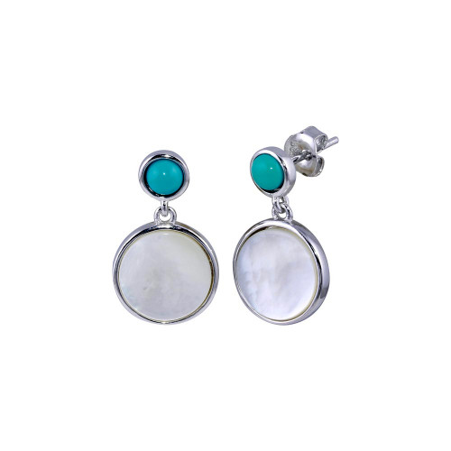 Wholesale Sterling Silver 925 Rhodium Plated Turquoise Stud Dangling MOP  Earrings - BGE00678