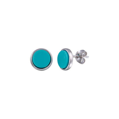 Wholesale Sterling Silver 925 Rhodium Plated Disc Turquoise Stud Earrings - BGE00679