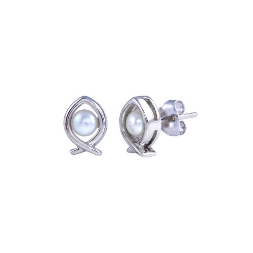 Wholesale Sterling Silver 925 Rhodium Plated Heart Pearl Fish Earrings - BGE00684