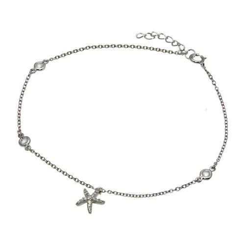 Wholesale Sterling Silver 925 Rhodium Plated Starfish Anklet with CZ - BGF00021