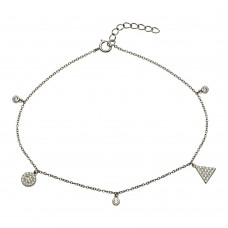 Wholesale Sterling Silver 925 Rhodium Plated Circle and Triangle Charm  Anklet with CZ - BGF00022