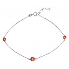 Wholesale Sterling Silver 925 Rhodium Plated Red CZ Flower Anklet - BGF00023