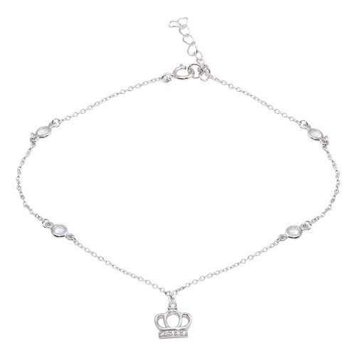 Wholesale Sterling Silver 925 Rhodium Plated CZ Link Crown Charm Anklet - BGF00024