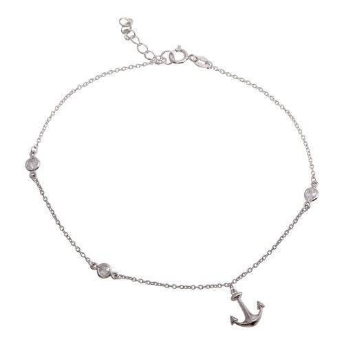 Wholesale Sterling Silver 925 Rhodium Plated Anchor Anklet with CZ - BGF00025