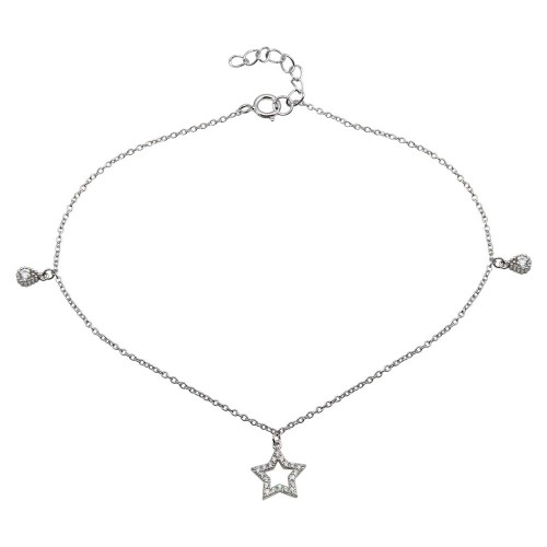 Wholesale Sterling Silver 925 Rhodium Plated Star and Teardrop Charm Anklet with CZ - BGF00026