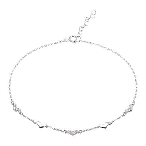 Wholesale Sterling Silver 925 Rhodium Plated 5 Heart CZ Anklet - BGF00027