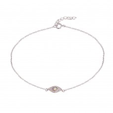 Wholesale Sterling Silver 925 Rhodium Plated Evil Eye CZ Opal Anklet - BGF00029