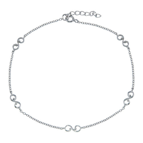 Wholesale Sterling Silver 925 Rhodium Plated Wave Link Anklet - BGF00031