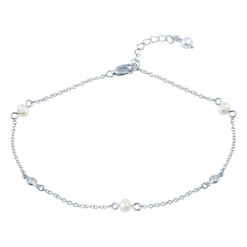 Wholesale Sterling Silver 925 White Pearl Anklet - BGF00032