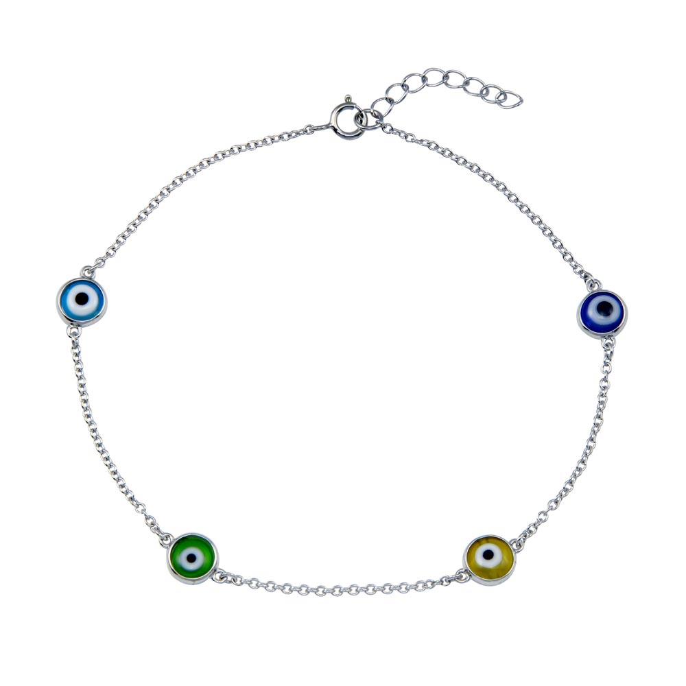 Wholesale Sterling Silver 925 Rhodium Plated Evil Eye Charm Anklet - BGF00035