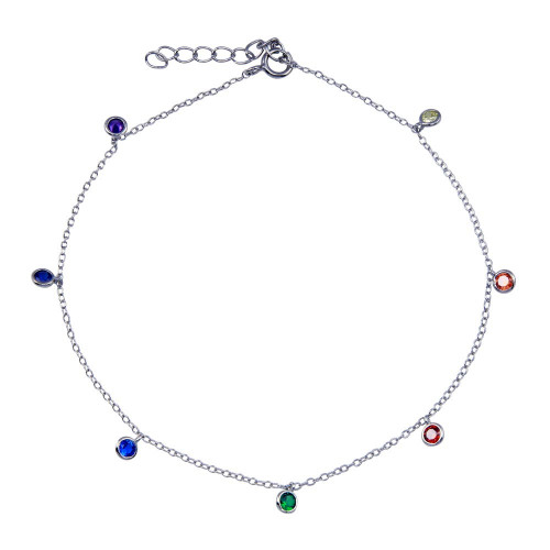 Wholesale Sterling Silver 925 Rhodium Plated Multi Color CZ Dangling Anklet - BGF00038