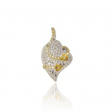 -Closeout- Wholesale Sterling Silver 925 Textured Heart Pendent  with CZ and Gold Plated Accents Necklace - BGP00074