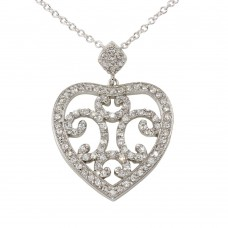 **Closeout** Wholesale Sterling Silver 925 Rhodium Plated Heart Pendant Necklace with CZ - BGP00080