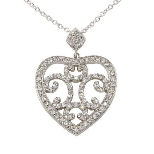 -Closeout- Wholesale Sterling Silver 925 Rhodium Plated Heart Pendant Necklace with CZ - BGP00080