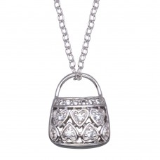 -CLOSEOUT- Wholesale Sterling Silver 925 Clear CZ Rhodium Plated Purse Necklace - BGP00081